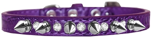 Silver Spike and Clear Jewel Croc Dog Collar Purple Size 14